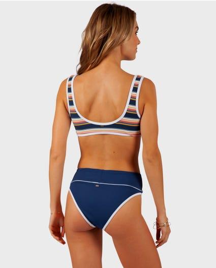 Throwback Crop Bikini Top in Navy