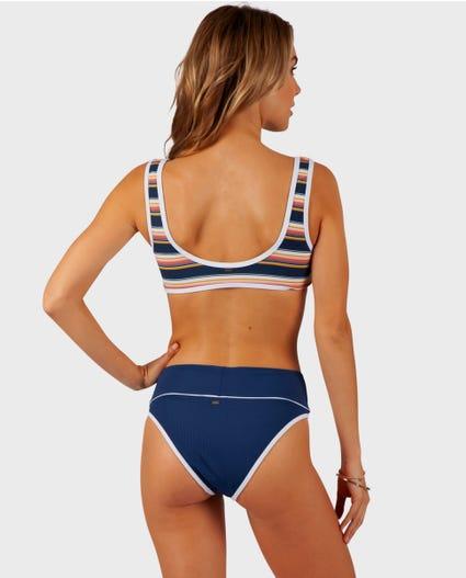 Throwback Cheeky Hi Waist bikini Bottom in Navy