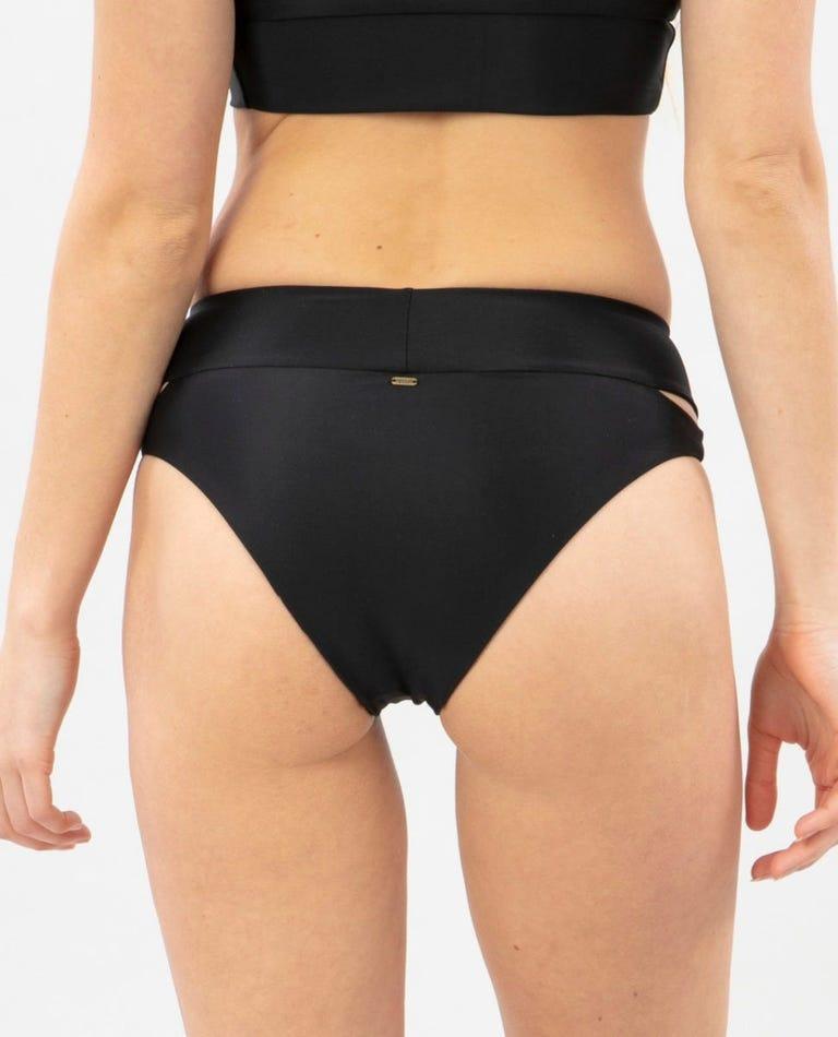 Brights High Waist Cheeky Bikini Bottom in Black