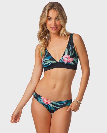 Mirage Essentials Deep V Bikini Top in Black