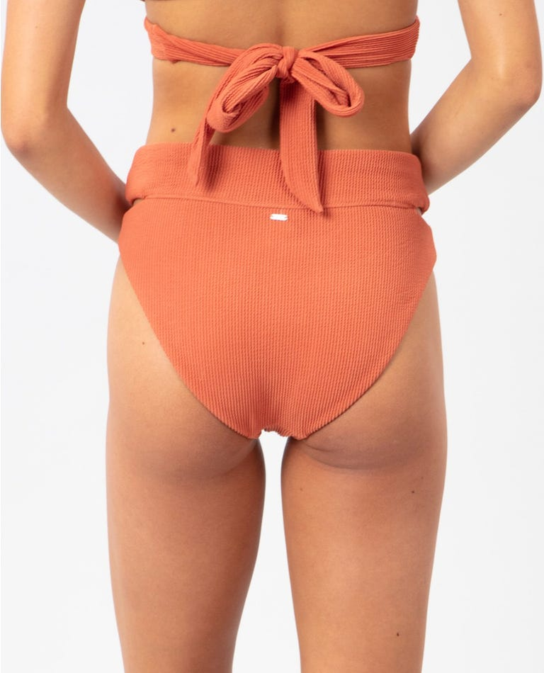 Solid High Waisted Cheeky Coverage Bikini Pant in Red