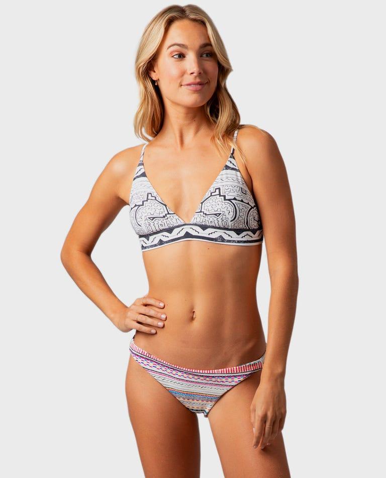 Mai Ohana Crossback Tri Bikini Top in Off White