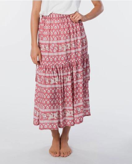 Navy Beach Maxi Skirt in Dusty Rose