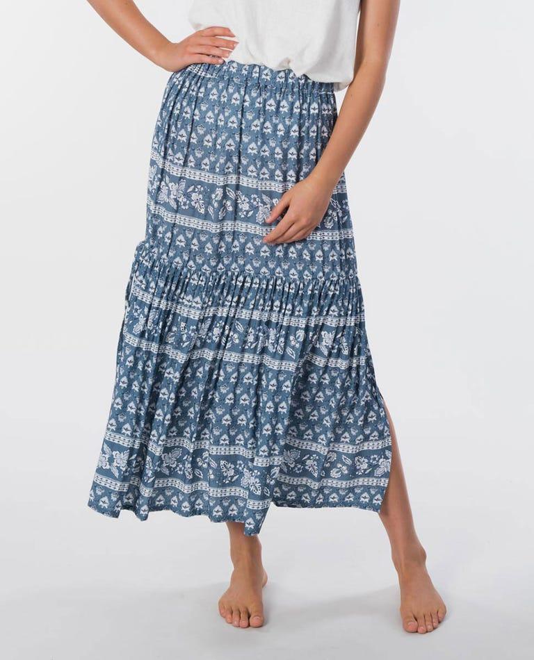 Navy Beach Maxi Skirt in Slate Blue