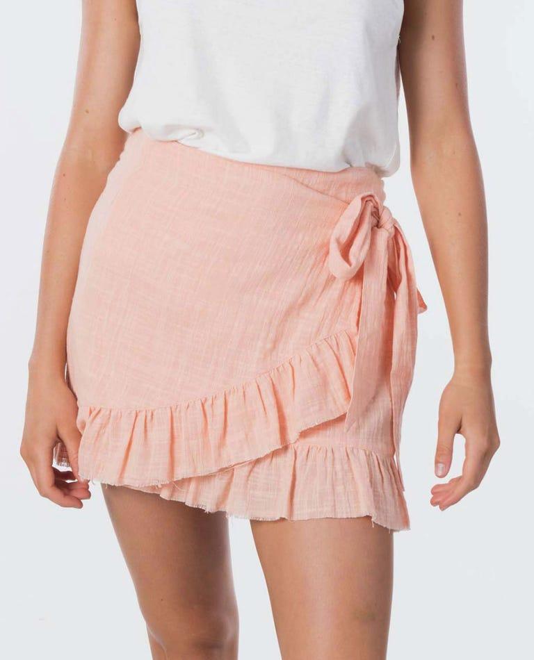 Holly Wrap Mini Skirt in Light Peach