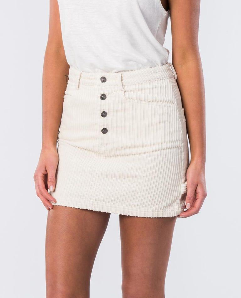 Courtney Cotton Cord Skirt in Bone
