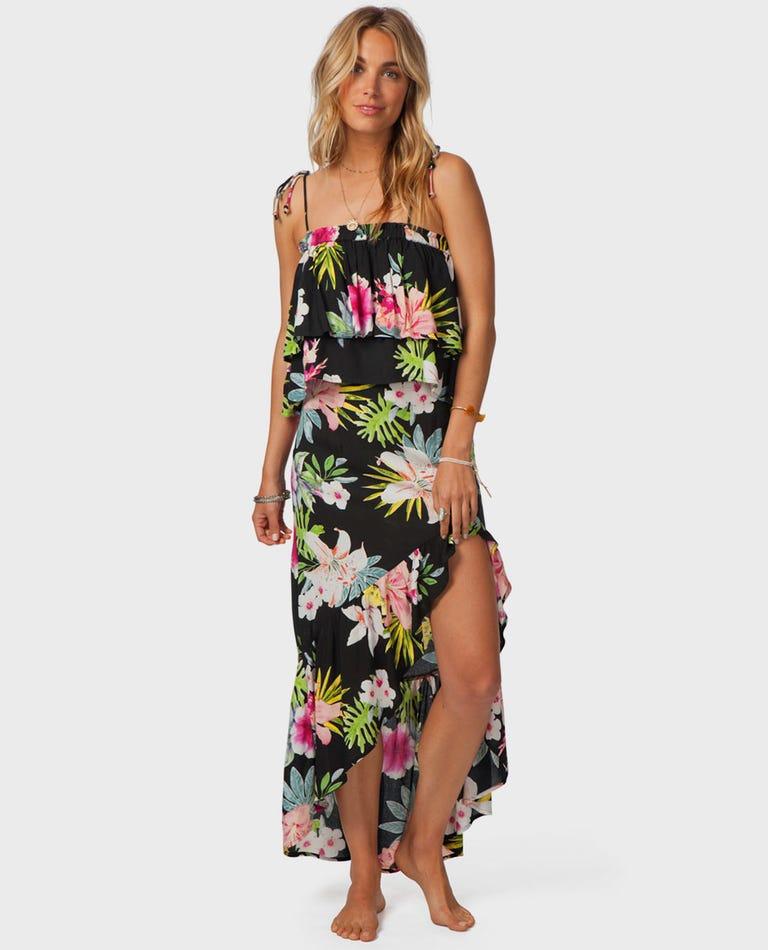 Sweet Aloha Maxi Skirt in Black