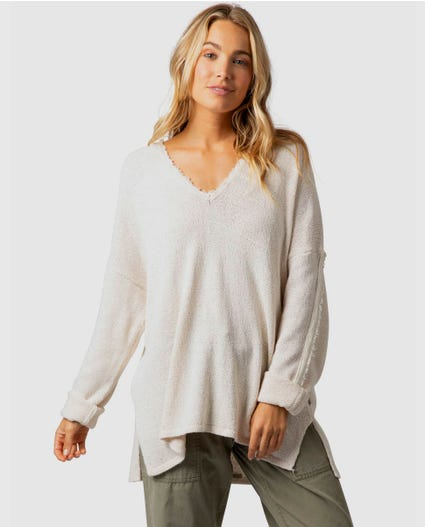 The Searchers Knit Hooded Sweater in Taupe