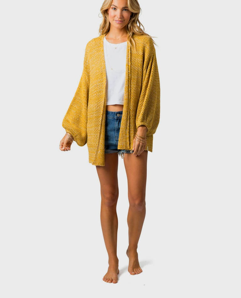 Warm Up Cardigan in Gold