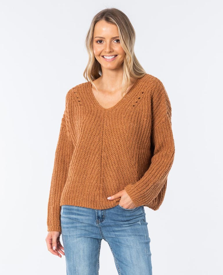 Woven V Neck Sweater in Light Brown