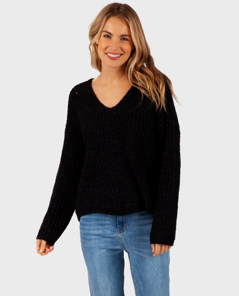 Woven V Neck Sweater in Black Heather