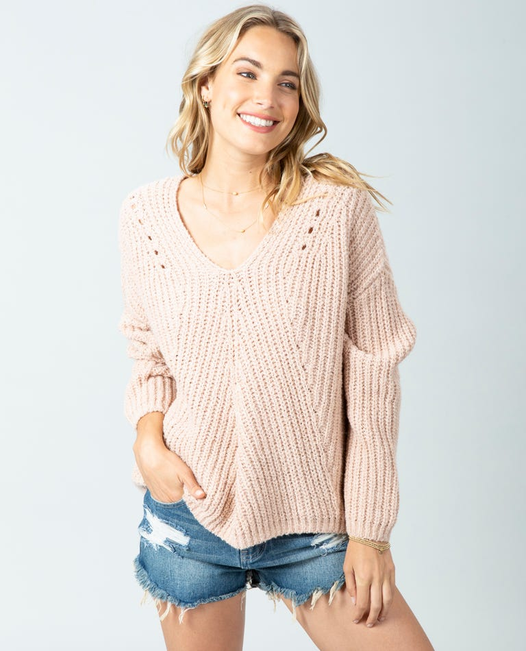 Woven V Neck Sweater in Light Pink