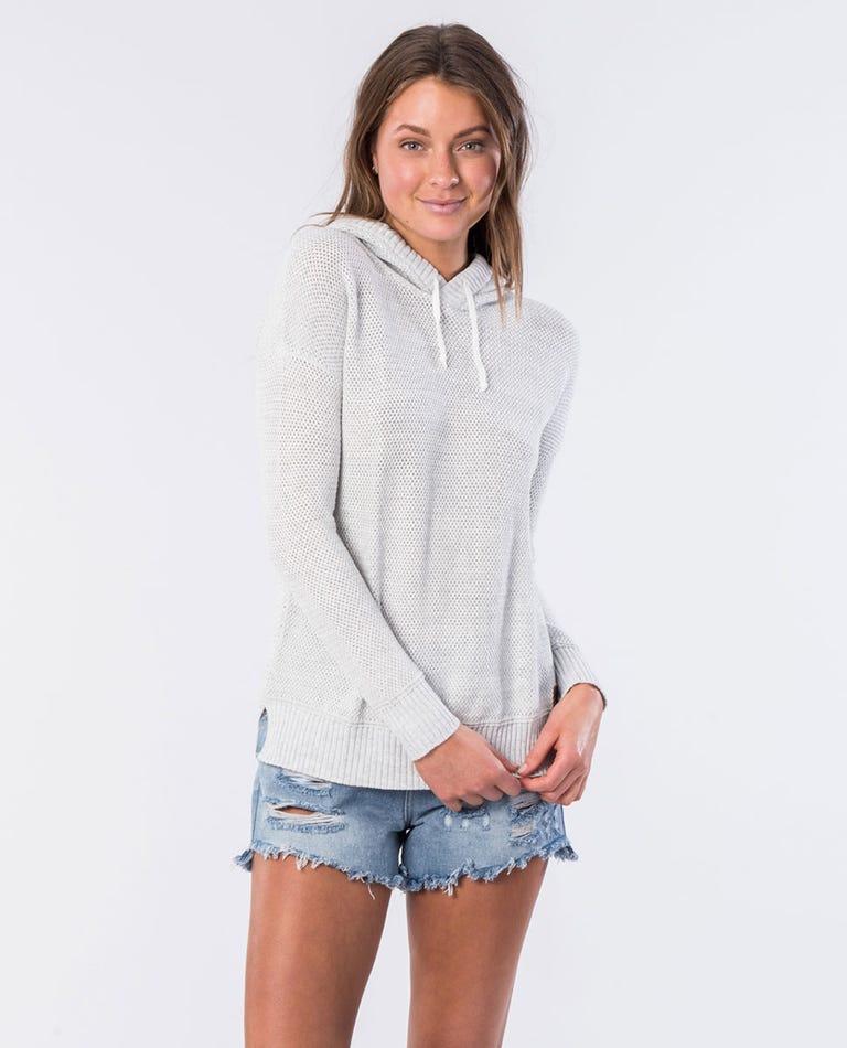 Wanderer II Knit Hooded Jumper in Light Grey Heather