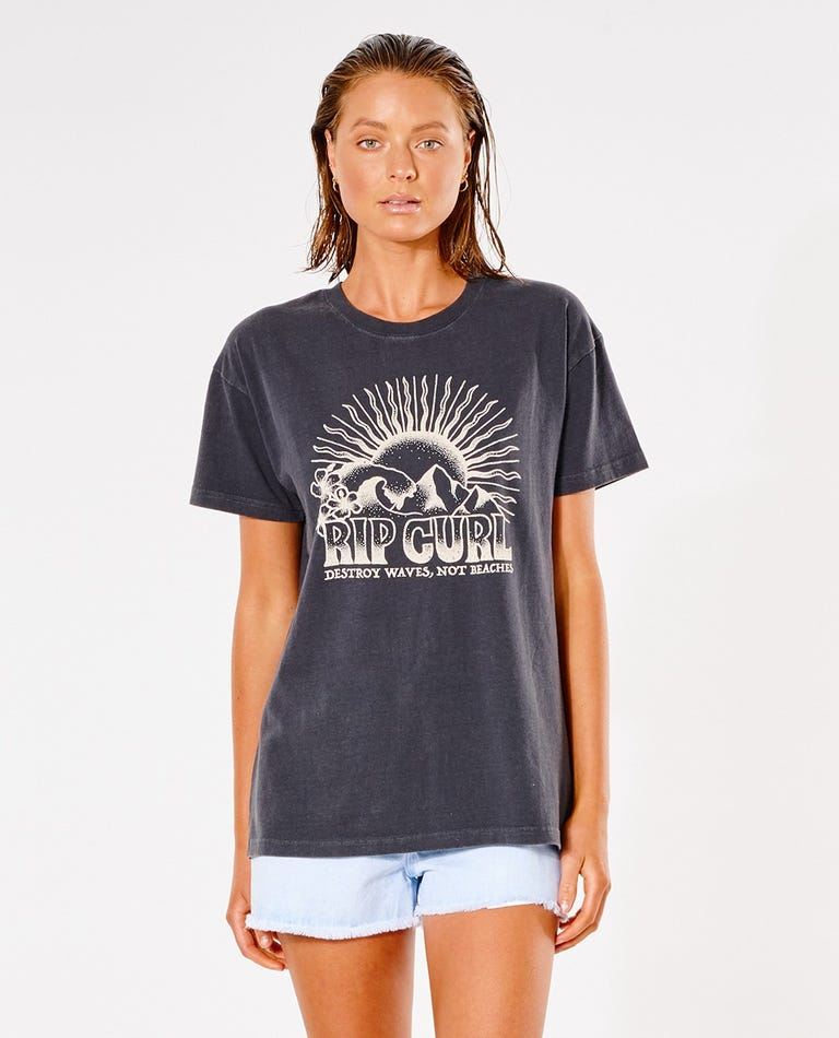 Cosmic Search Oversized Tee in Washed Black