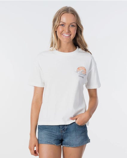 Sunset Wave Tee in Egret