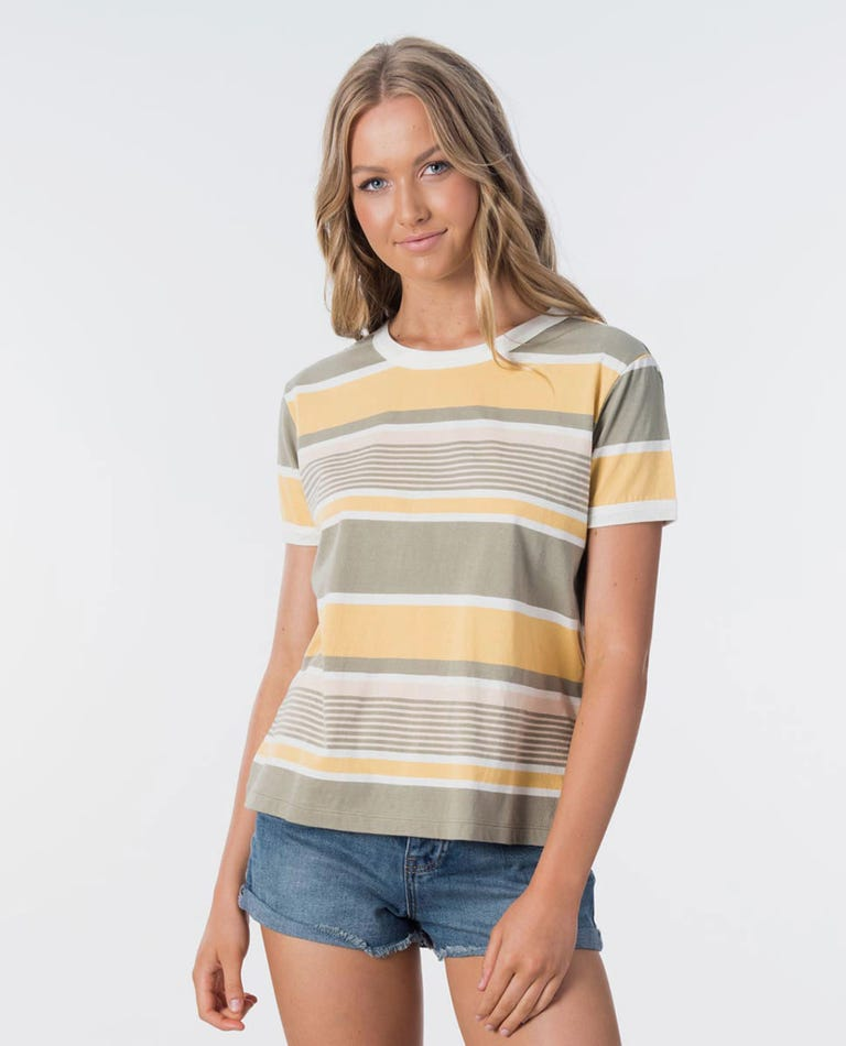 Playa Blanca Stripe Ringer Tee in Vetiver