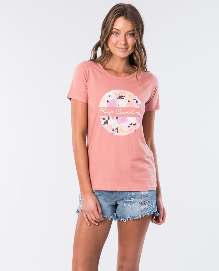 Spice Shore Cotton Tee in Coral