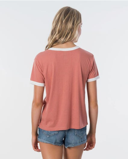 Paradise Ringer Tee in Dusty Rose