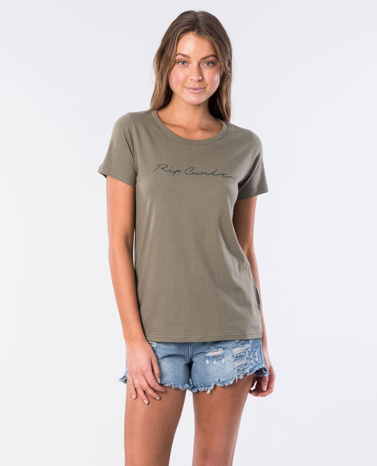 Big Wave Cotton Tee in Olive