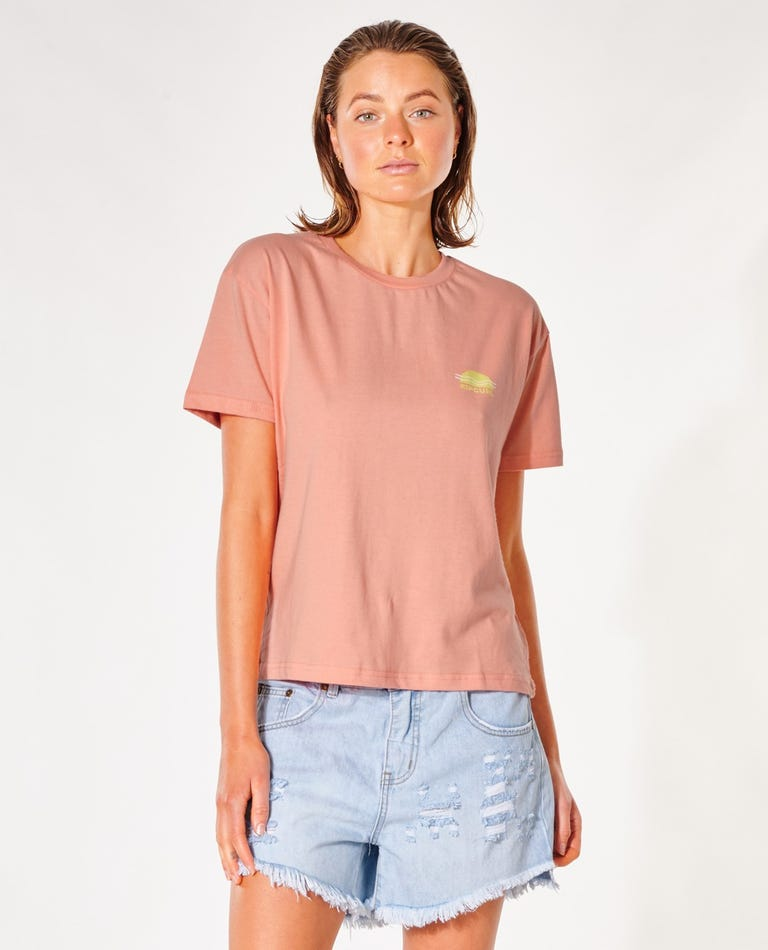 Summer Relaxed Tee in Peach