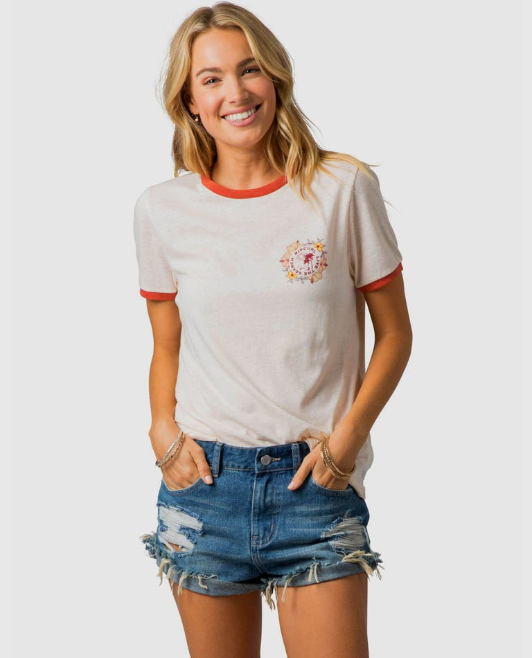 Island Time Ringer Tee in Light Pink