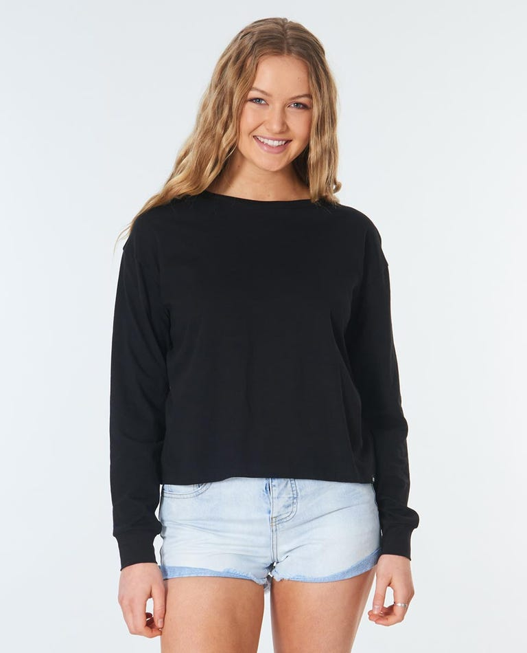 Plains Long Sleeve Tee in Black