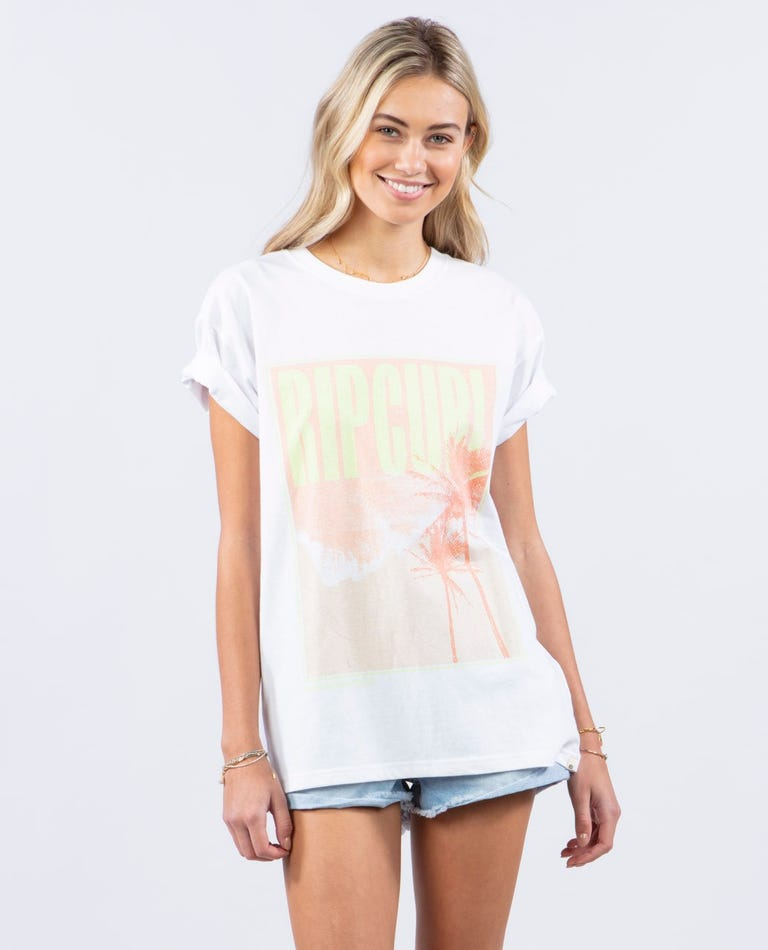 Twin Fin Oversized Poster Tee in White