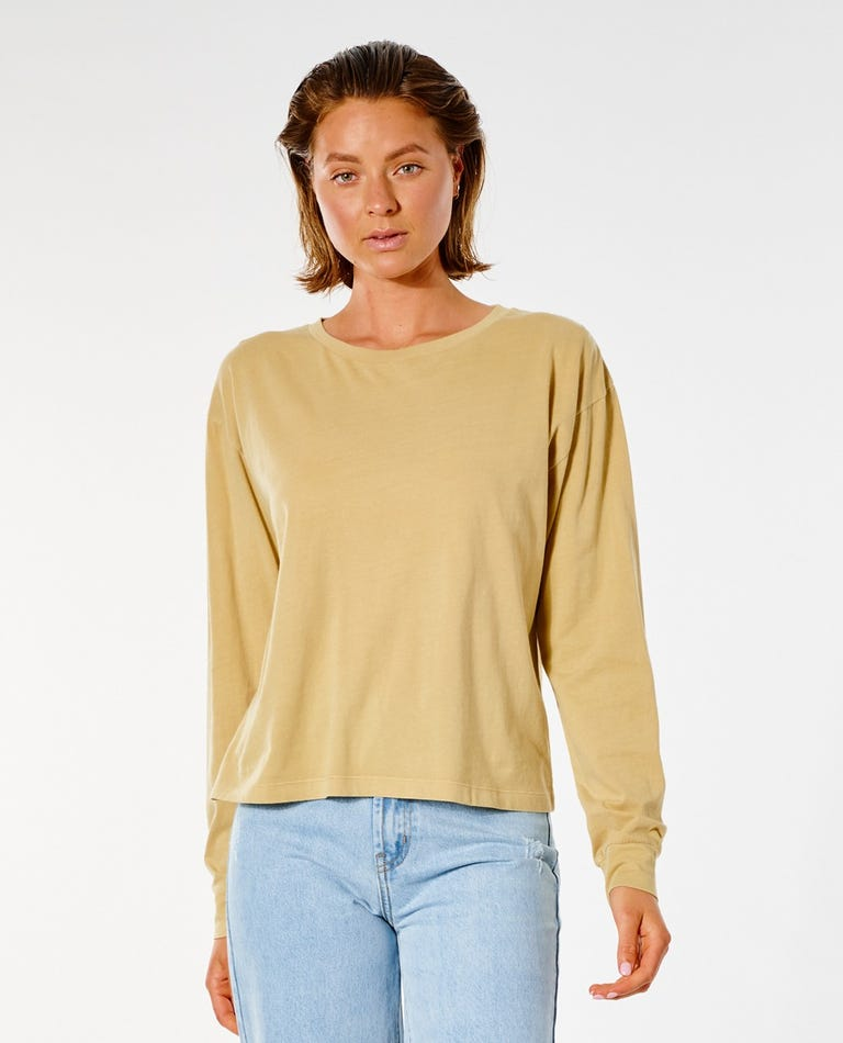 Plains Long Sleeve Tee in Gold