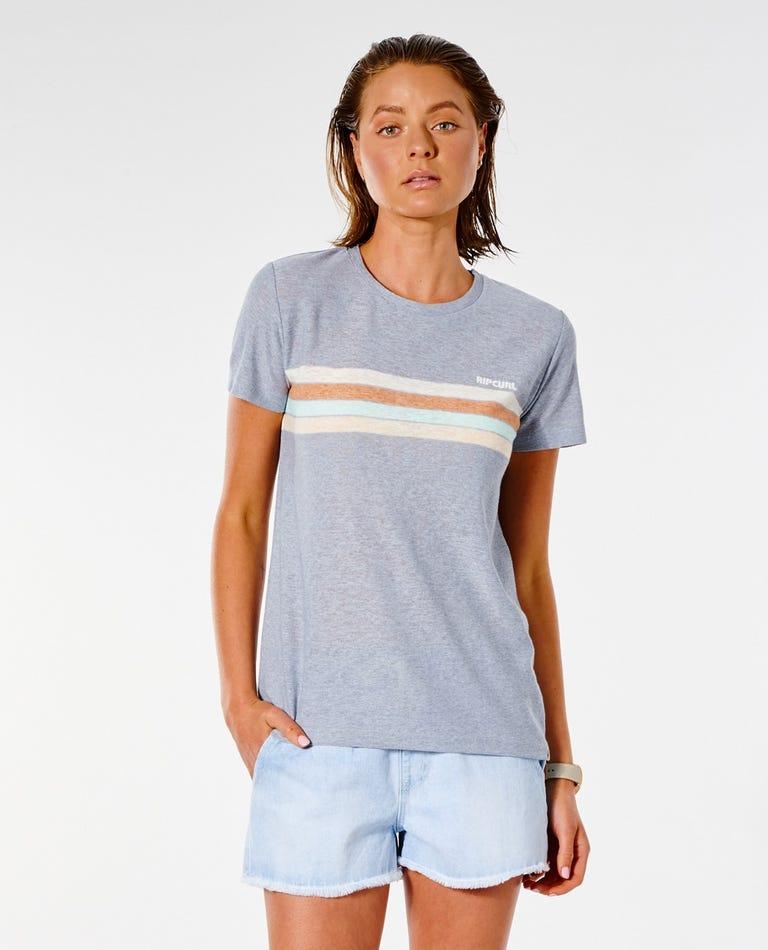 Twin Fin Stripe Tee in Blue Grey