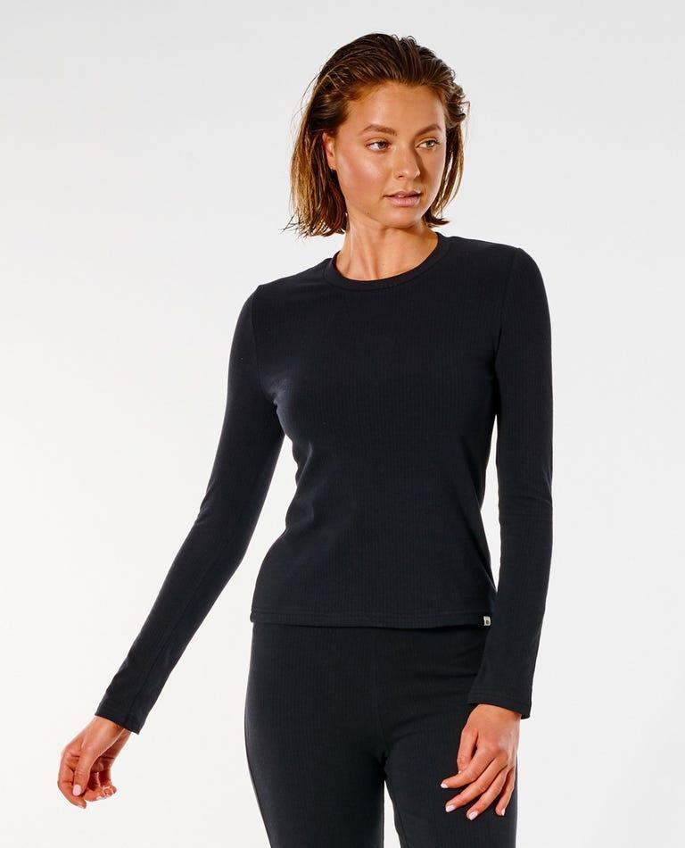 Premium Rib Long Sleeve Top in Black