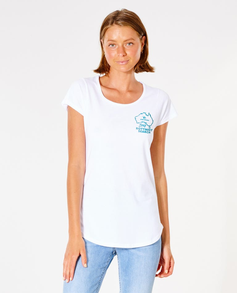 Womens Rotto Search Tee in White
