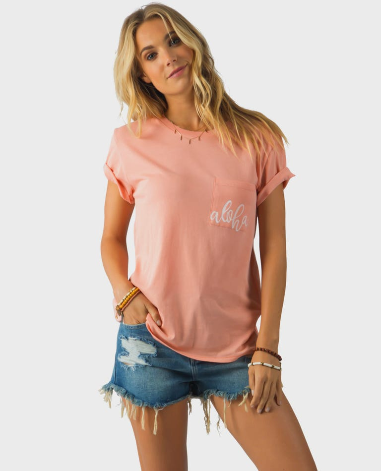 Surf With Me Pocket Tee in Dusty Rose