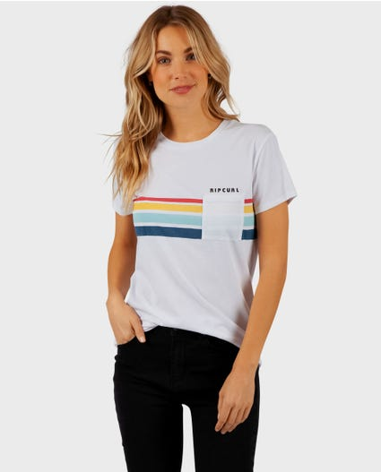 Stripes Pocket Tee in White