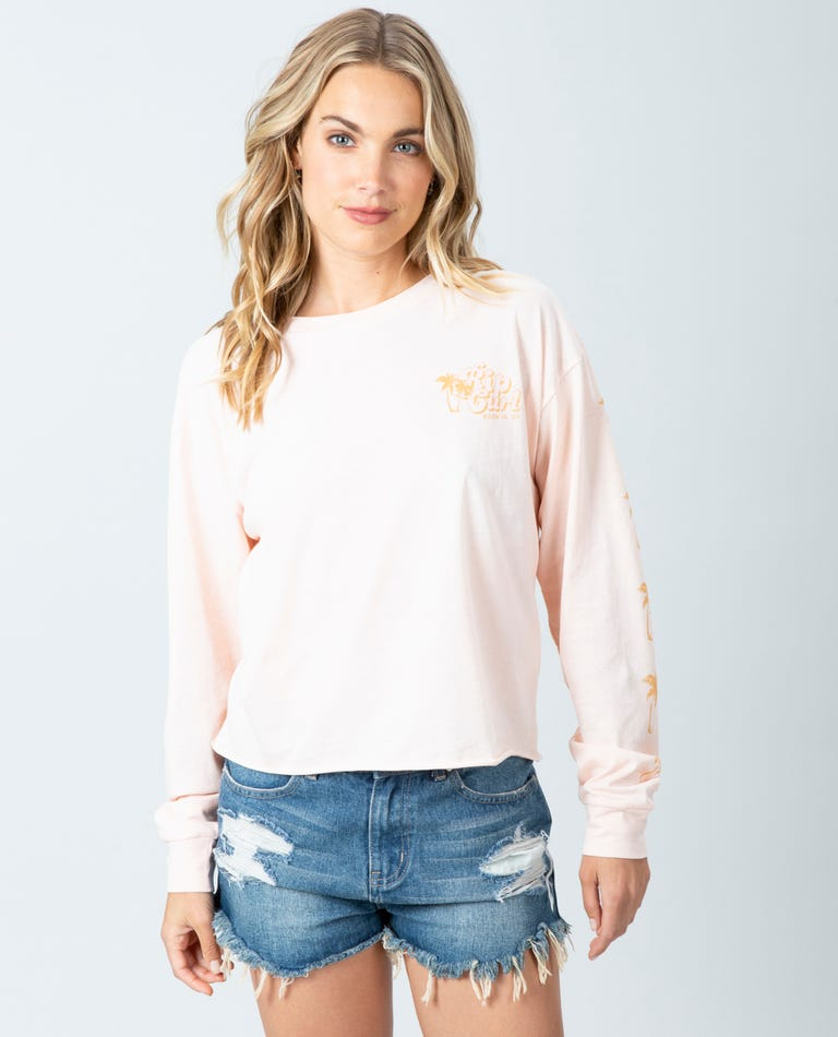 Under The Palms Long Sleeve Tee in Blush