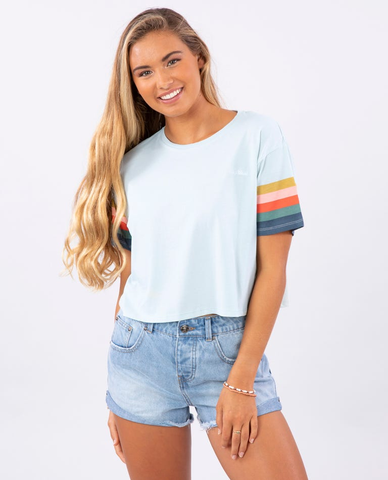 Comeback Crop Tee in Ice Blue