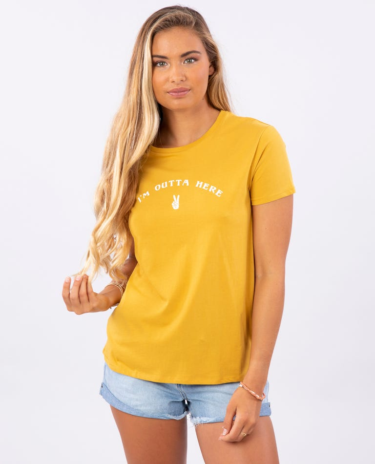 Outta Here Boy Tee in Mustard