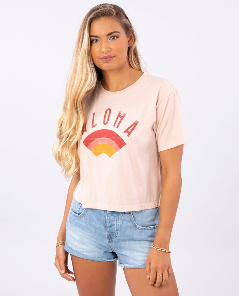 Aloha Always Crop Tee in Blush