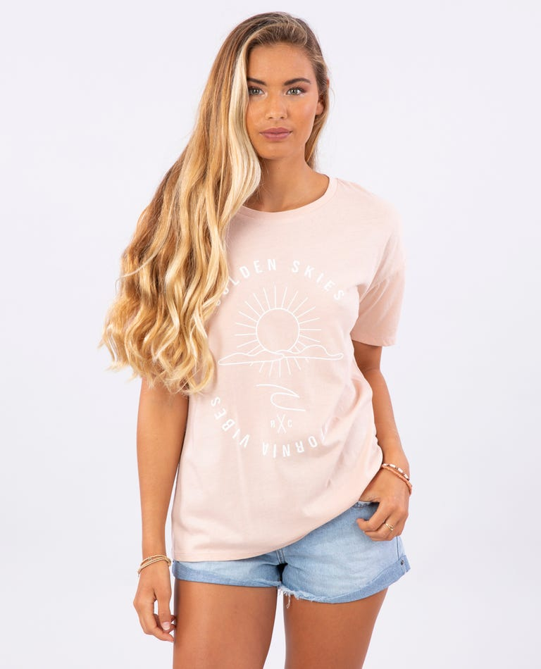 Golden Skies Oversized Tee in Blush