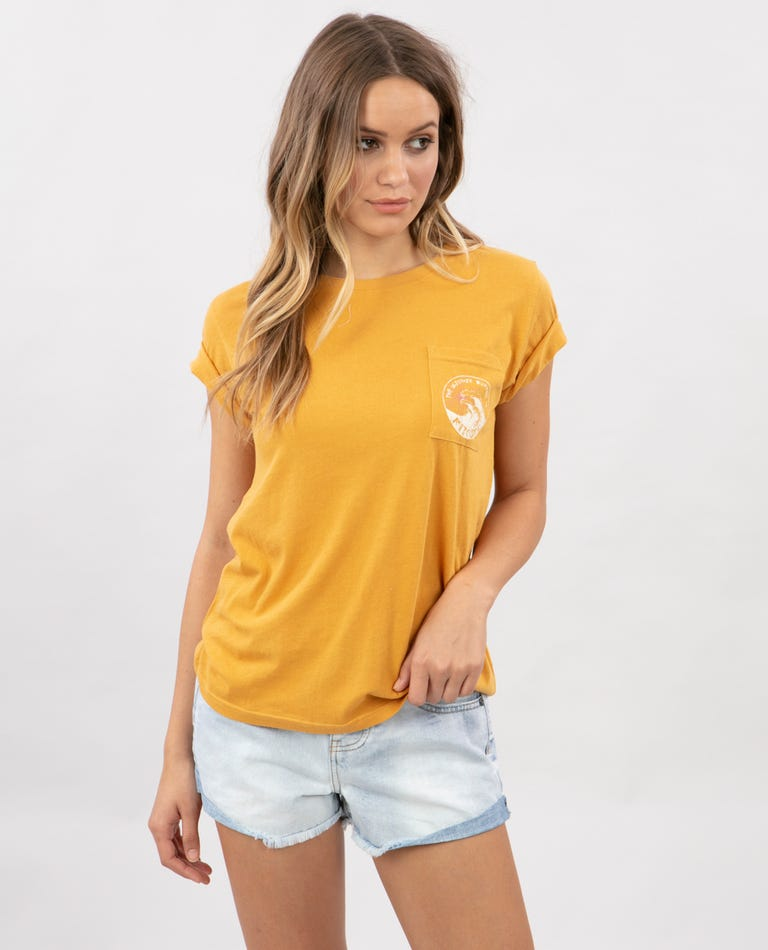 Rip Curl Tide Pocket Tee in Yellow