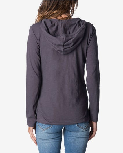 Paradise Hooded Long Sleeve Tee in Nine Iron