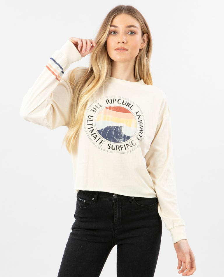 Ultimate Wave Crop Long Sleeve in Off White
