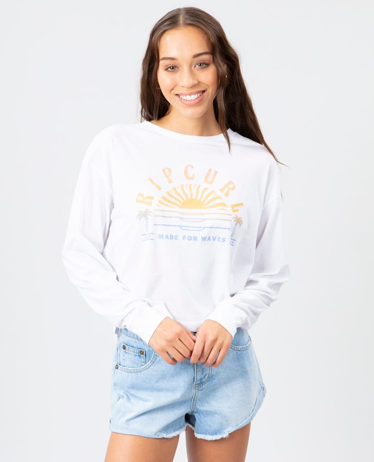 Sunset Sessions Long Sleeve Crop Tee in White