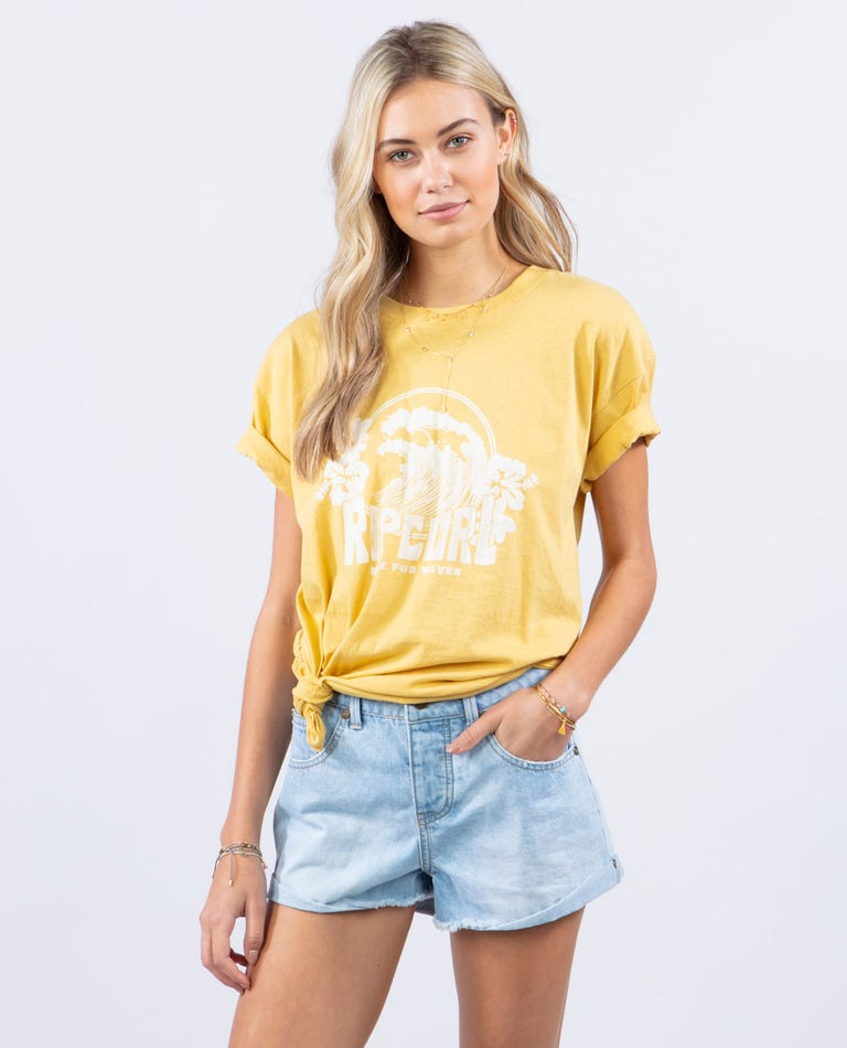 The Curl Oversized Tee in Gold