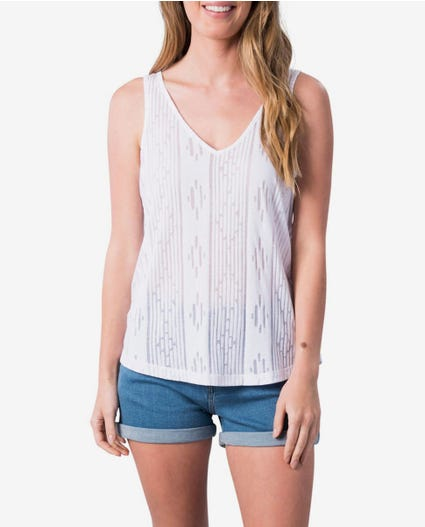 Moontide Burnout Tank Top in White