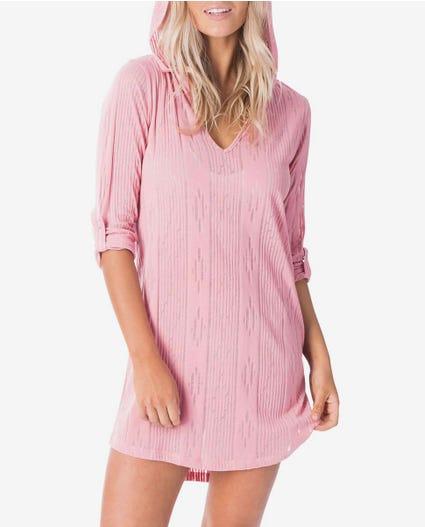 Moon Tide Burnout Long Sleeve Hood in Pink