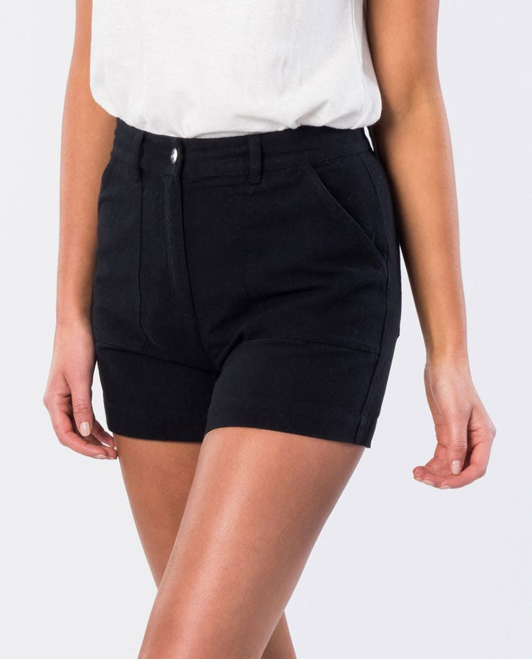 Essex Relaxed Fit Cotton Short in Black