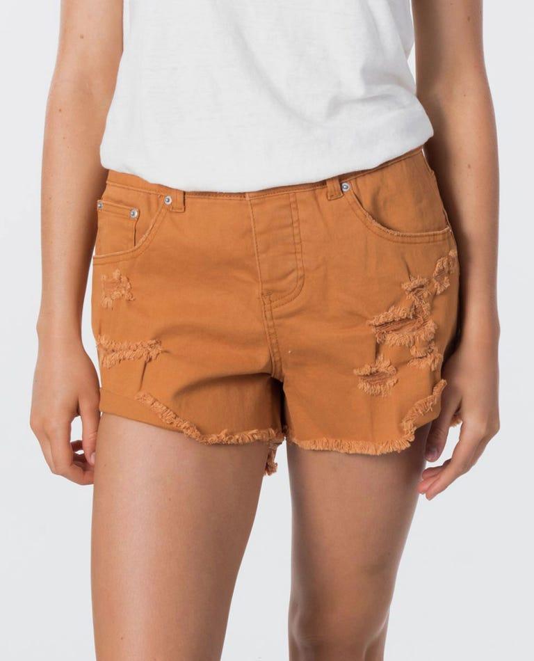 Amy V2 Denim Short in Burnt Orange