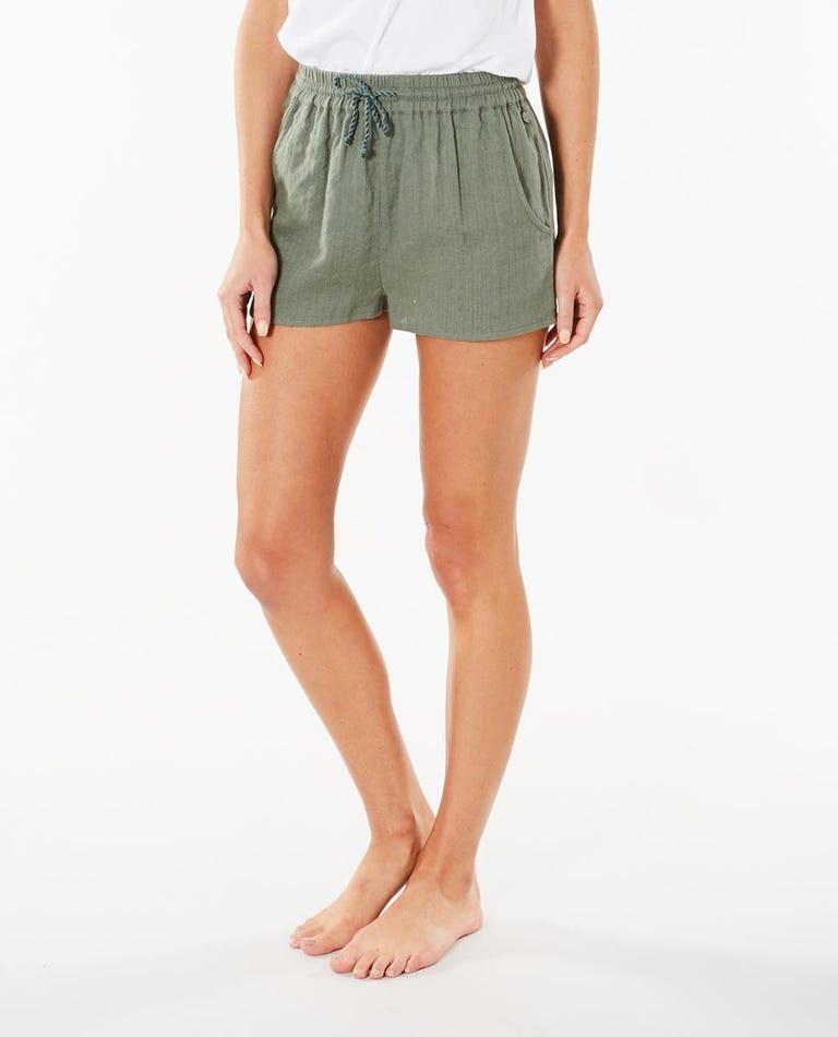 Santana Shirred Short in Green