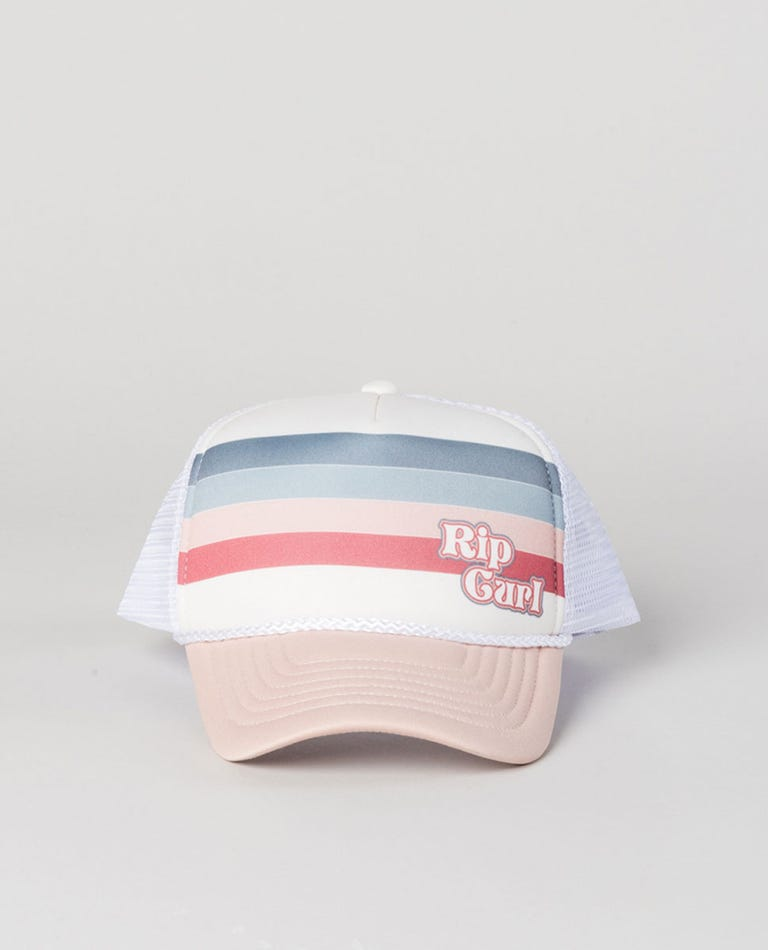 Girl Keep On Surfin Trucker Hat in Bone