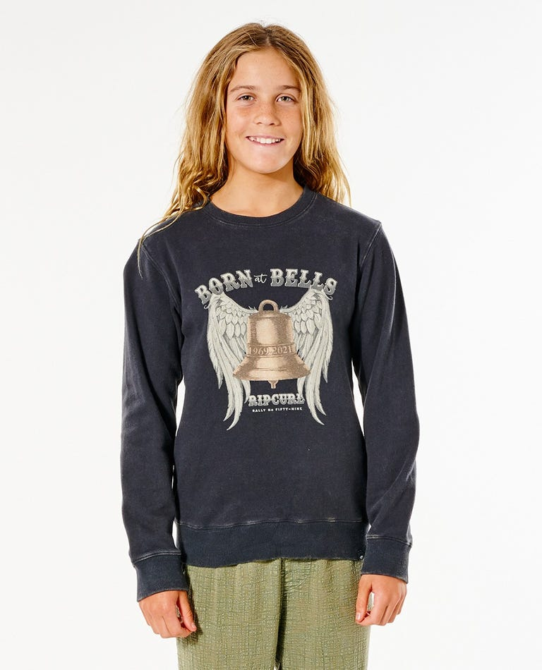 Born At Bells Crew - Girls (8-16 years) in Washed Black